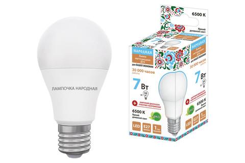 Лампа светодиодная НЛ-LED-A55-7 Вт-230 В-6500 К-Е27, (55х98 мм), Народная