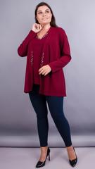 Дона. Жакет+блуза для жінок великих розмірів. Бордо.
