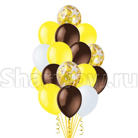 Облако воздушных гелиевых шаров Желтый с шоколадным, шары с конфетти