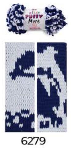 Купить Пряжа Пуффи Море цвет 6279 темно-синий и светло-серый   Интернет-магазин пряжи «Пряха»