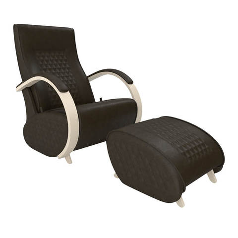 Кресло глайдер Balance 3 с пуфиком, экокожа (с накладками)