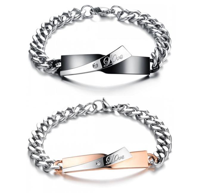 Парные браслеты для влюблённых цепь с пластиной из ювелирной стали 361L с цирконами Steelman mn00356