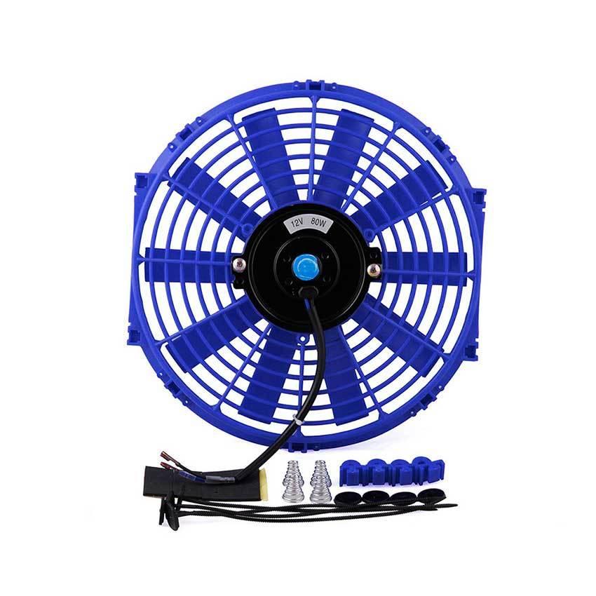 Дополнительный вентилятор охлаждения автомобиля синего цвета