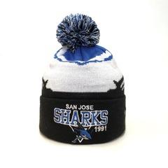 Вязаная шапка хоккей НХЛ Сан-Хосе Шаркс (Hockey NHL San Jose Sharks) с помпоном