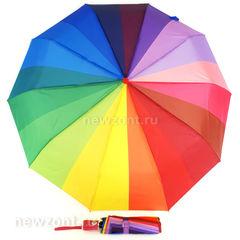Цветной зонт-радуга складной MNS с тёмно-розовой рукояткой