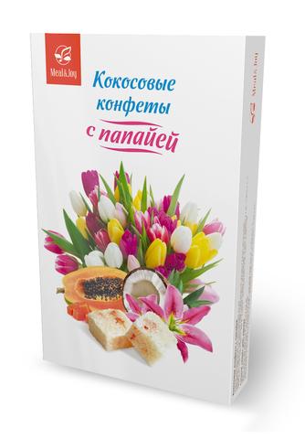 Кокосовые конфеты с папайей, 100 г (картонная упаковка)