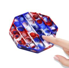 Поп Ит Игрушка антистресс Вечная пупырка Восьмиугольник Попит 12 х 12 х 1,7 см разноцветная с английским алфавитом POP IT