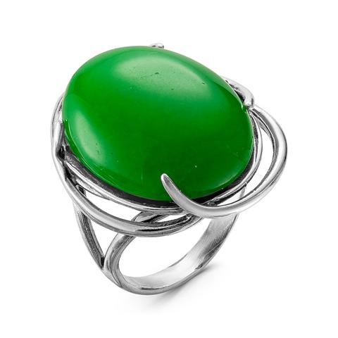 Кольцо с хризопразом и серебрением