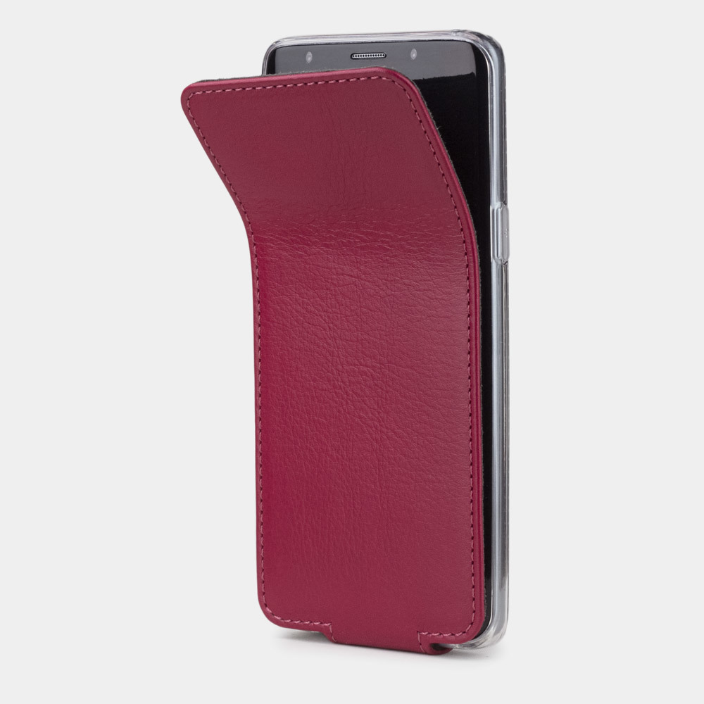 Чехол для Samsung Galaxy S9 Plus из натуральной кожи теленка, цвета малины