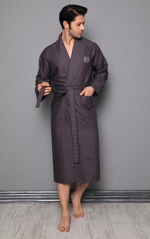 Вафельный мужской халат 12680 коричневый  NUSA Турция