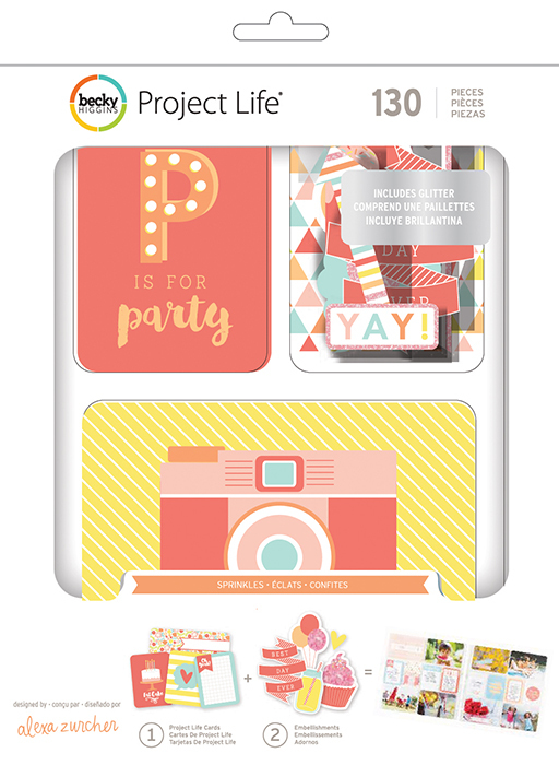 Kit набор карточек и украшений для Project Life -Sprinkles -125шт