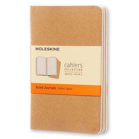 Блокнот Moleskine CAHIER JOURNAL QP411 Pocket 90x140мм обложка картон 64стр. линейка бежевый (3шт)