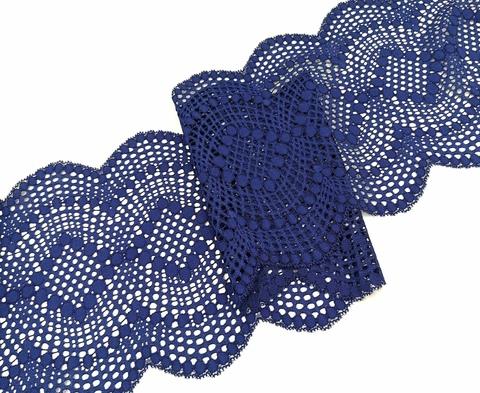 Эластичное кружево, ОПТ, 19,5см, темно-синий, (Арт: EK-1061), м