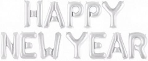 Надпись Happy New Year серебряная