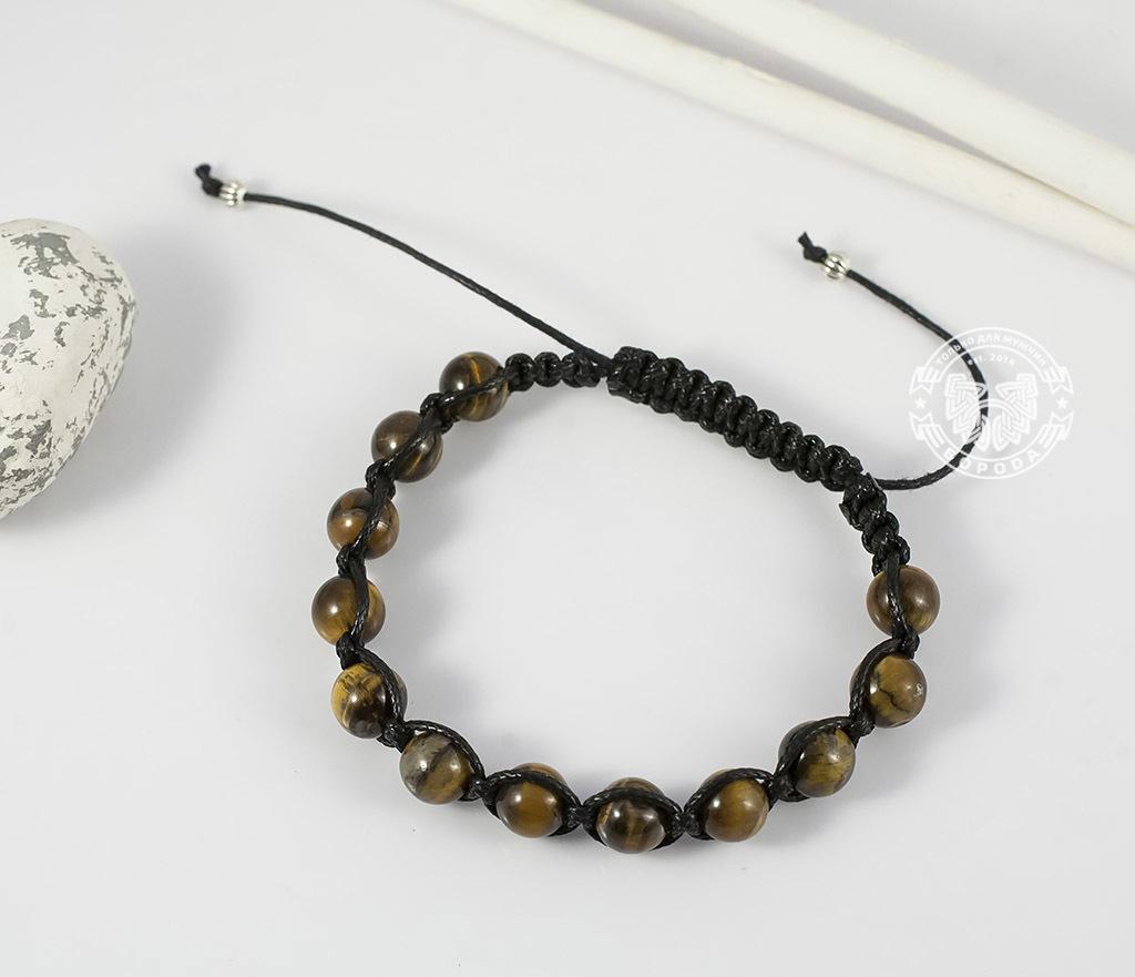 BS660 Стильный мужской браслет ручной работы из камня -тигрового глаза. «Boroda Design» фото 02