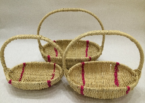 Набор плетёных корзин 3 шт. (лоза), 35х21хH31 см, цвет: натуральный/розовый
