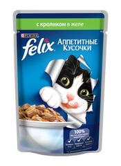 Консервы для кошек Purina Felix Аппетитные кусочки, кролик, пауч, 85 г