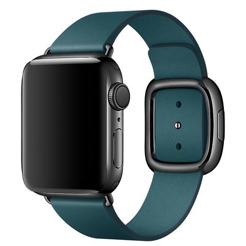 Ремешок Apple watch 42mm Modern Buckle Leather black /forest green/
