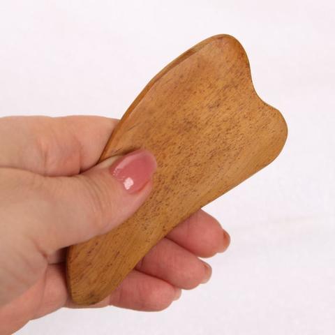 Скребок Гуаша для массажа деревянный, сердце, дуб