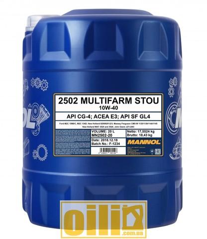 Mannol 2502 Multifarm STOU 10W-40 20л