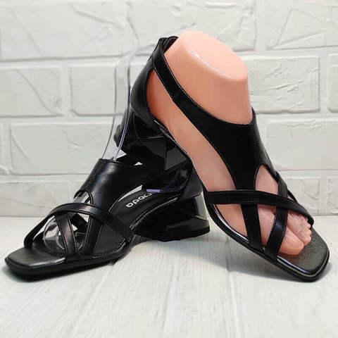 Женские босоножки босоножки на каблуке 5 см. Кожаные босоножки босоножки с квадратным носком. Черные босоножки с закрытой пяткой Evromoda Black Leather.