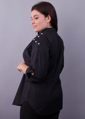 Магда. Повсякденна сорочка для офісу великих розмірів. Чорний.