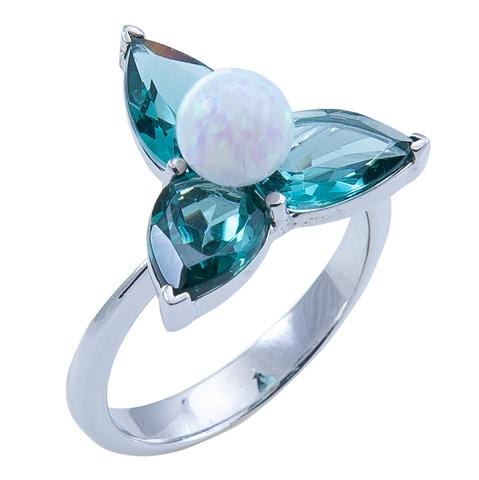 Кольцо из серебра с опалом и турмалином параиба Арт.1153/1о параиб