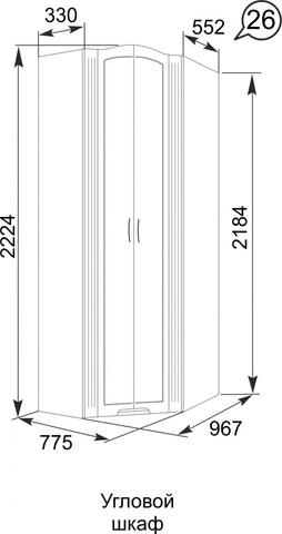 Шкаф угловой Виктория 26 Ижмебель белый глянец
