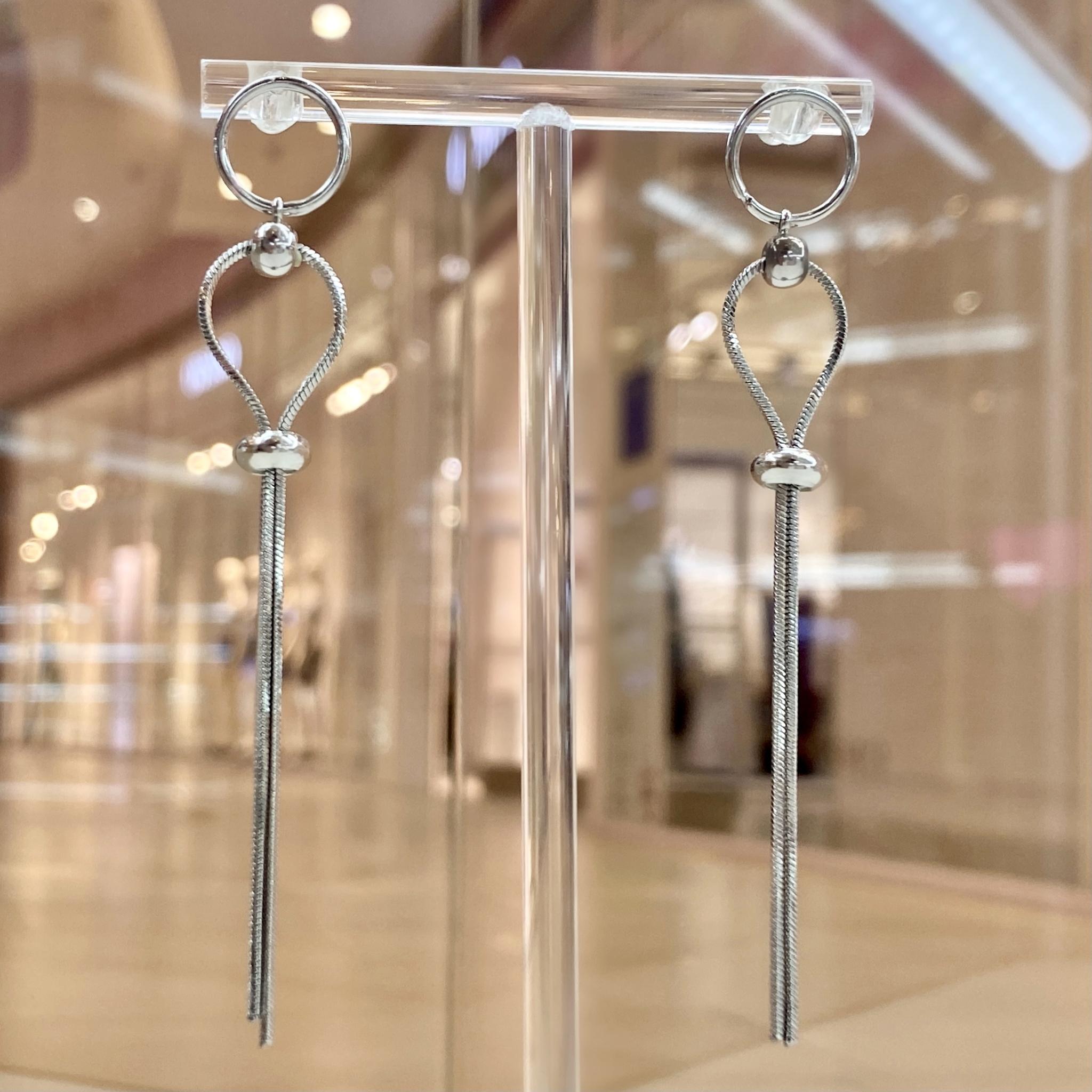 Серьги-цепочки с затяжкой ш925 (серебристый)