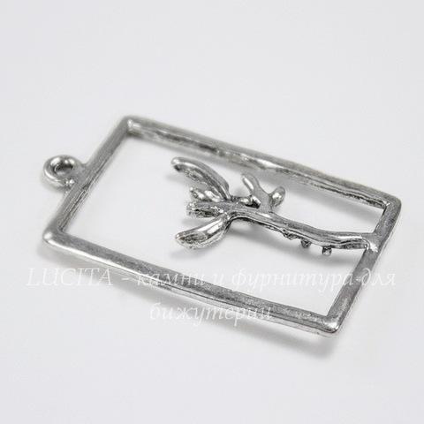 """Подвеска """"Веточка в рамке"""" (цвет - античное серебро) 29х18 мм"""