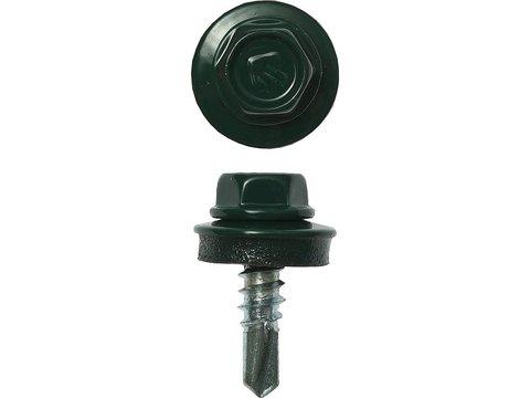 Саморезы СКМ кровельные, RAL 6005 зеленый насыщенный, 19 х 5.5 мм, 500 шт, для металлических конструкций, ЗУБР Профессионал