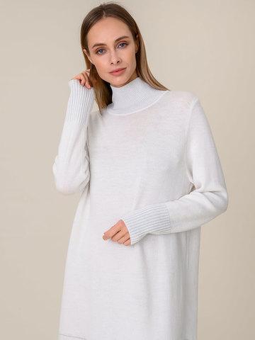 Женское платье молочного цвета из мохера и вискозы - фото 3