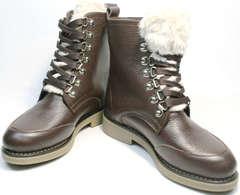 Зимние ботинки натуральная кожа и мех женские Studio27 576c Broun.