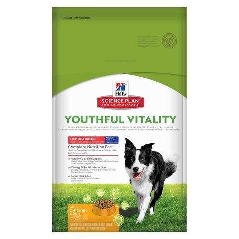 Hill's Science Plan  сухой корм для собак средних пород старше 7 лет, курица и рис Youthful Vitality