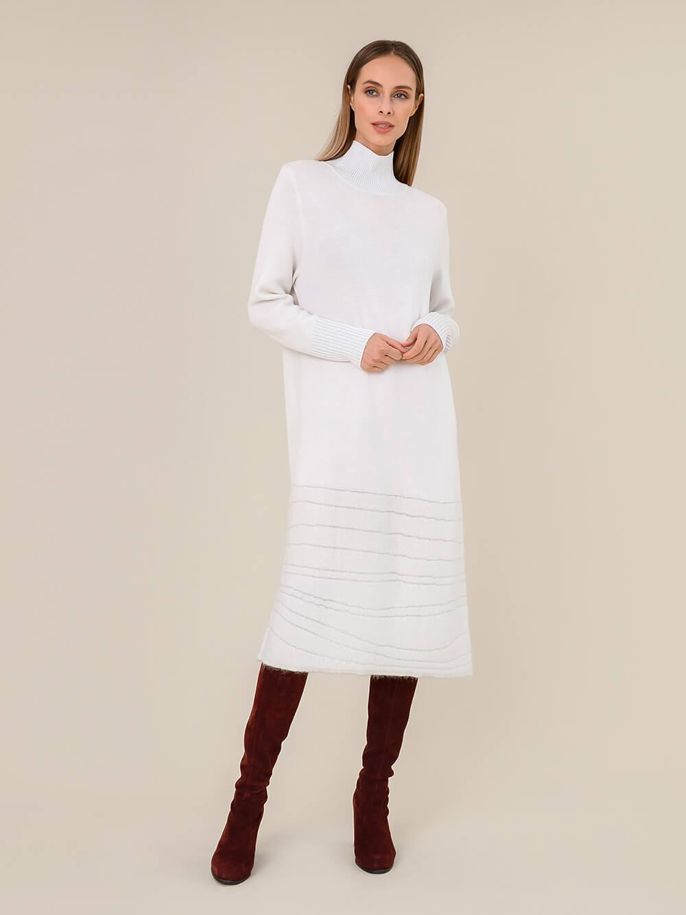 Женское платье молочного цвета из мохера и вискозы - фото 1