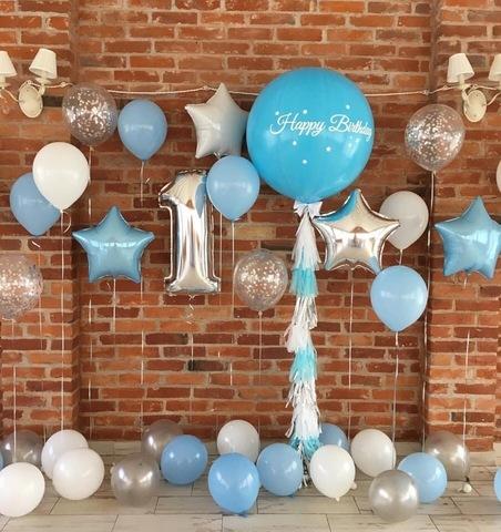 Фотозона из воздушных шаров Happy Birthday