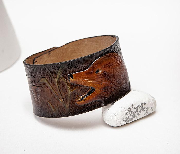 BL476 Мужской браслет «Хитрый Лис» из натуральной кожи, ручная работа фото 05