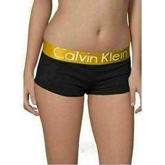 Женские трусы боксеры черные с золотистой резинкой Calvin Klein Steel Boxer Golden Black