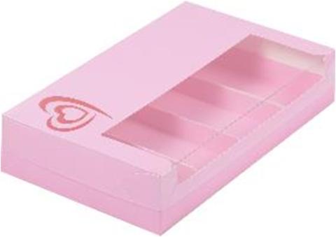Коробка для эклеров и эскимо с тиснением сердце, розовая, 25*15*5см