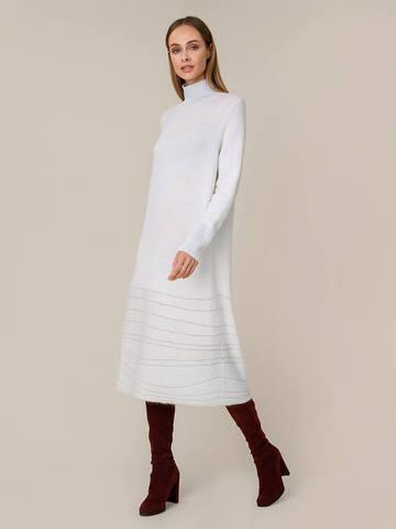 Женское платье молочного цвета из мохера и вискозы - фото 4