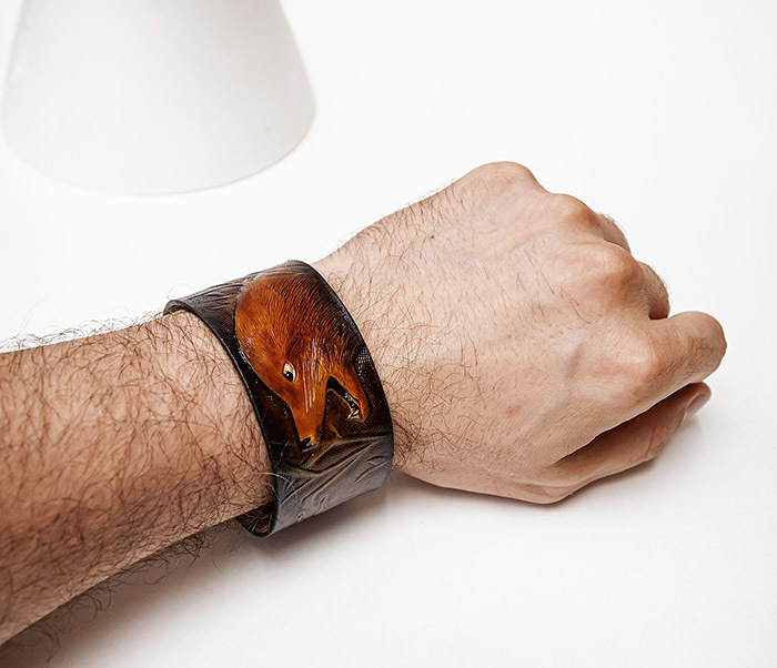 BL476 Мужской браслет «Хитрый Лис» из натуральной кожи, ручная работа фото 06