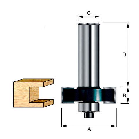 Кромочная фальцевая фреза 38х32х12,7х12 мм