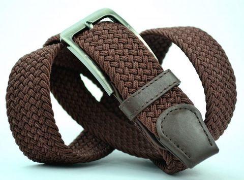 Ремень-резинка мужской текстильный коричневый 35 мм 35Stropa-R-007