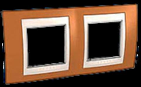 Рамка на 2 поста. Цвет Оранжевый/Бежевый. Schneider electric Unica Хамелеон. MGU6.004.569