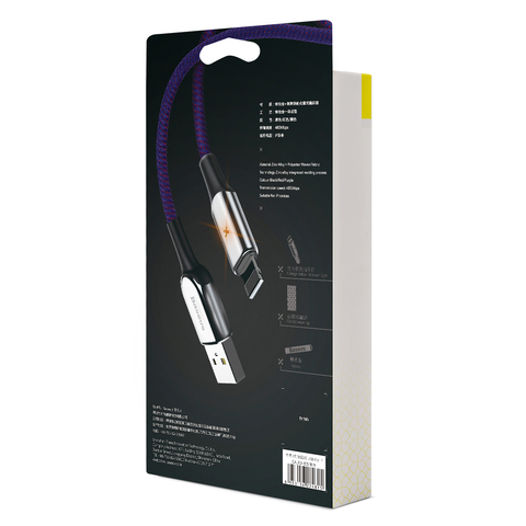 Кабель Baseus X-type Light Cable For Lightning 2.4A 0.5M Purple