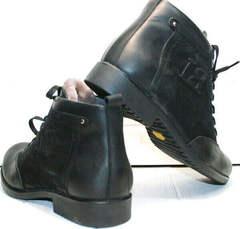 Зимние классические ботинки мужские модные Luciano Bellini 6057-58K Black Leathers & Nubuk.