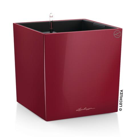 16367 Кашпо LECHUZA Кьюб 40 Красный блестящий с системой полива
