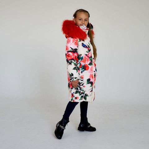Детское подростковое зимнее пальто с принтом розы с натуральной опушкой