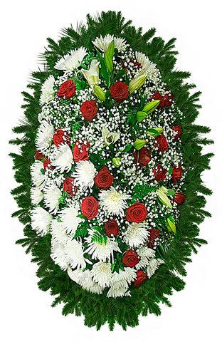 Траурный венок из живых цветов ВЖ 06 -180 см