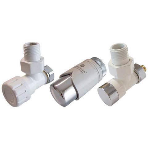 Комплект клапанов термостатических Форма угловая Элегант Белый - Хром. Для пластика GW М22х1,5 х 16х1